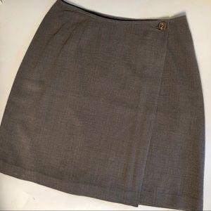 DKNY | Vintage Wrap Button Mini Skirt Wool Silk 2